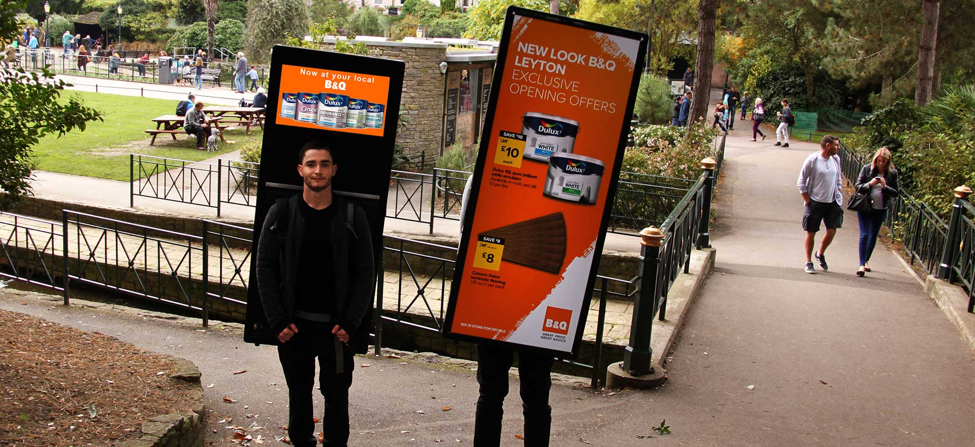B&Q digital advertising walkers in Bournemouth Gardens
