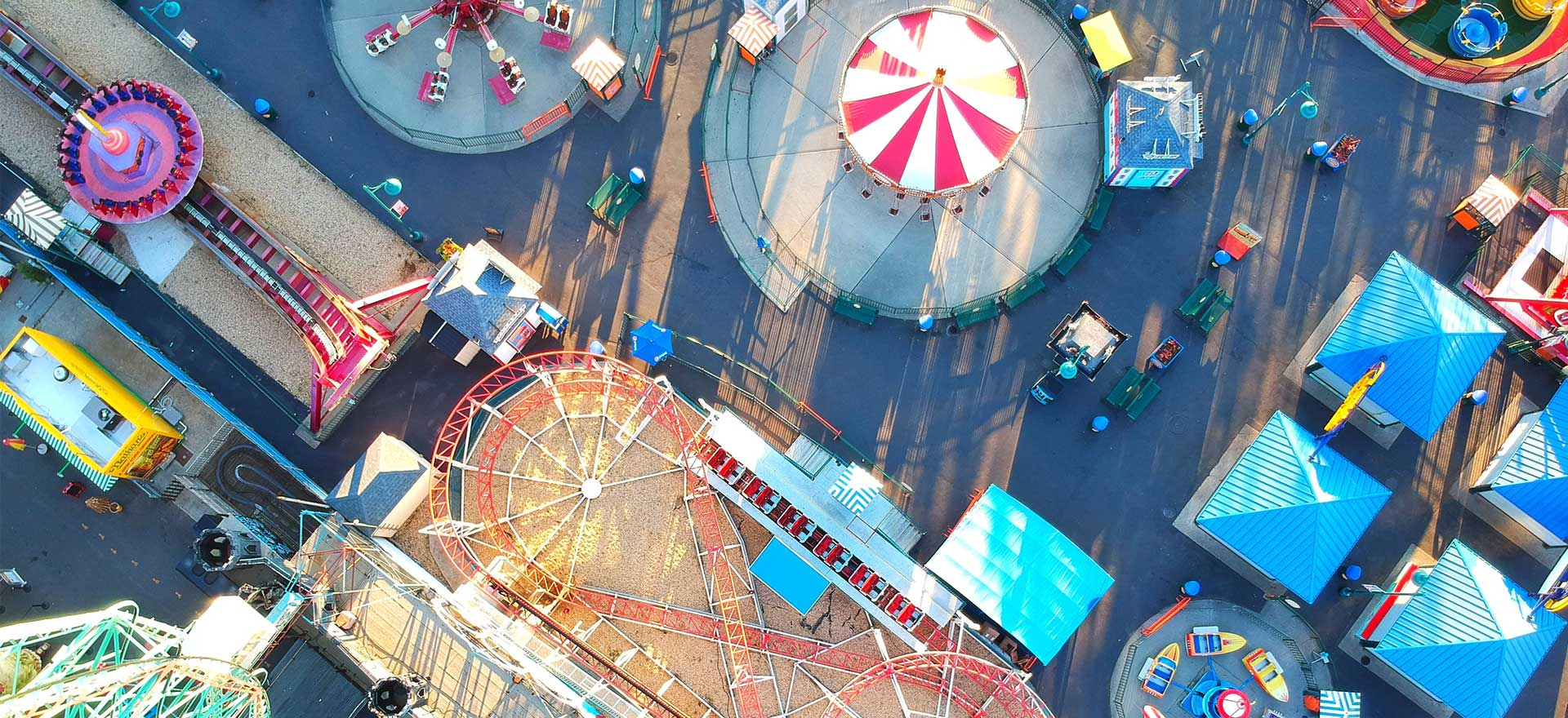 Birds eye view of a fairground