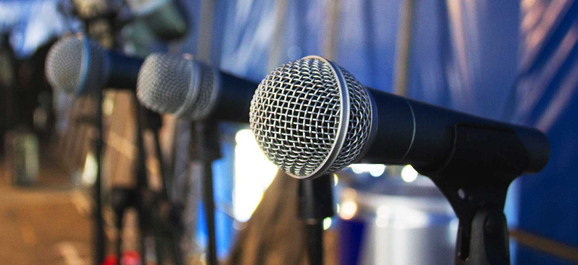 Microphones on stage