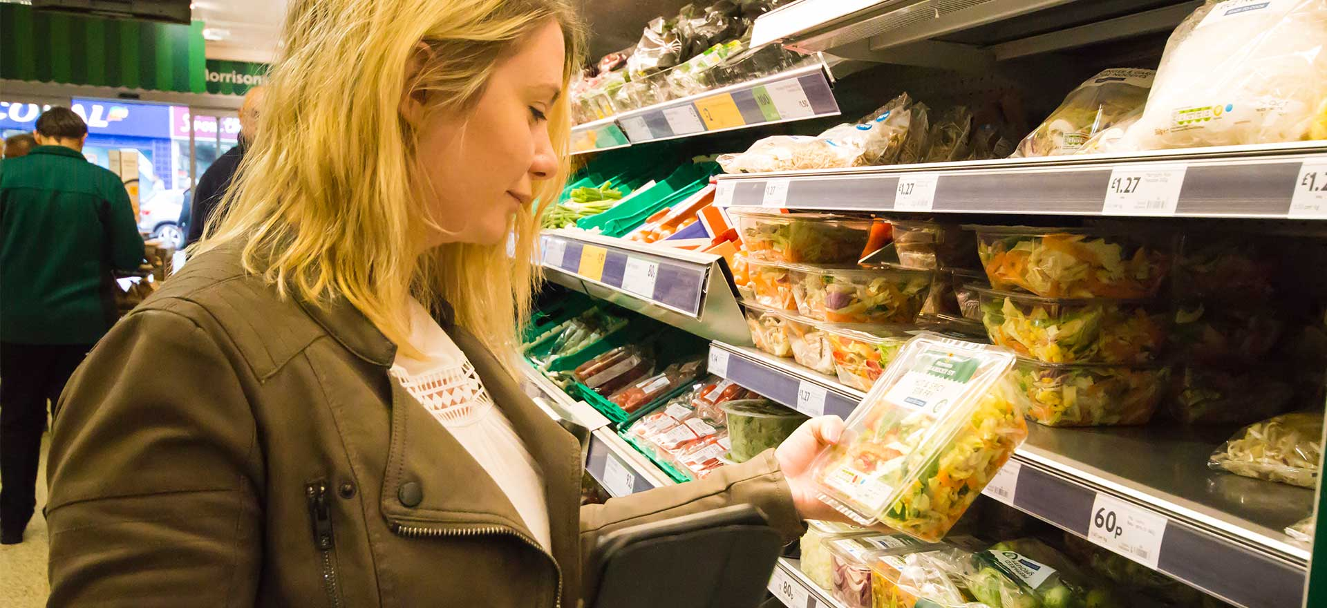 Shopper looking at food product