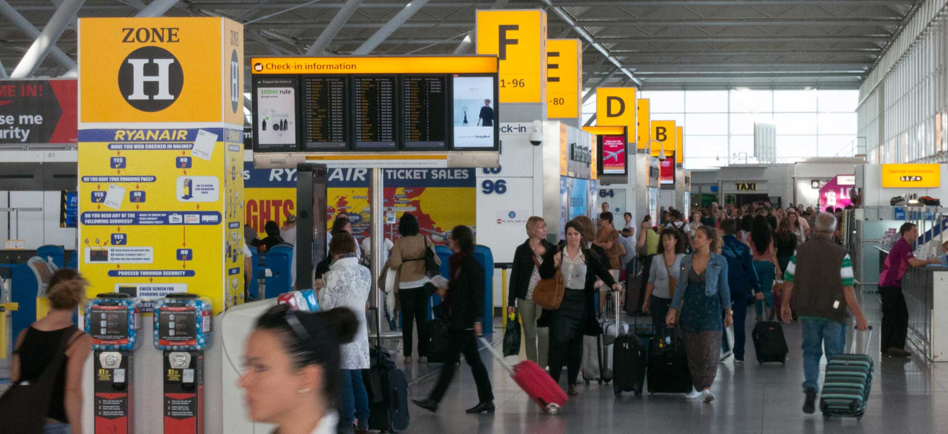 Inside Stansted airport