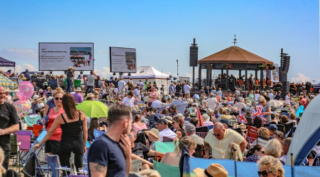 Royal Marine Bandstand event digivans with crowd