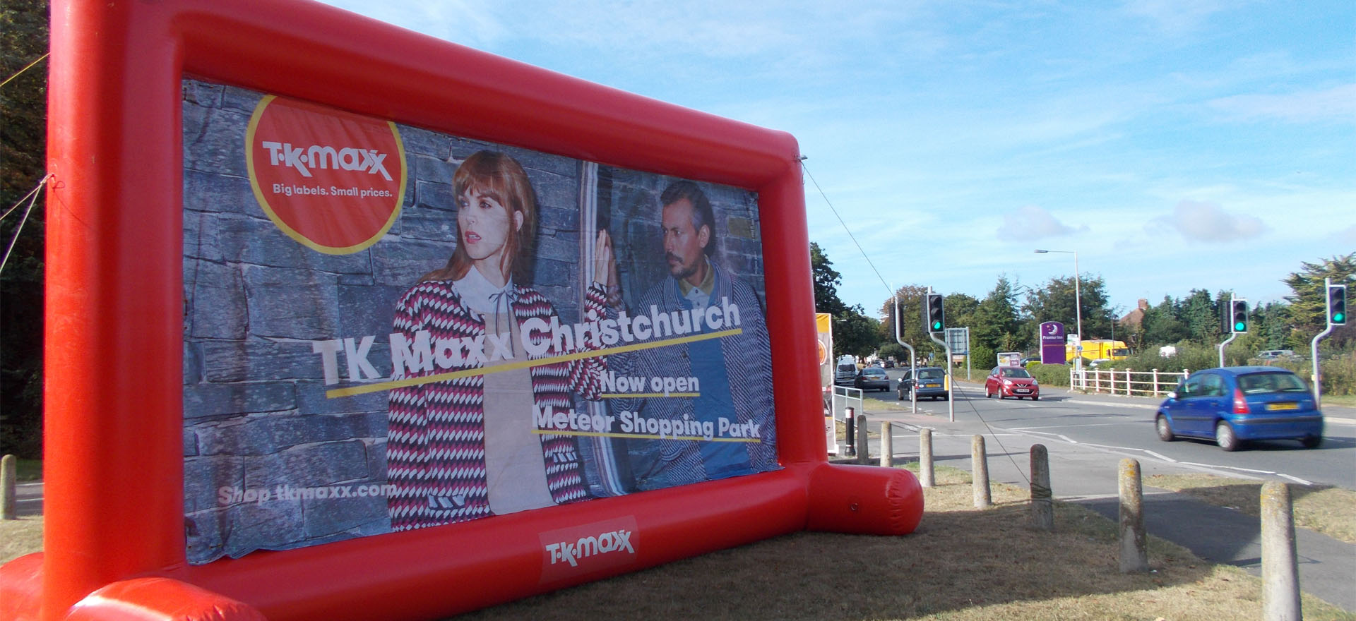 TK Maxx inflatable advertising billboard in Christchurch