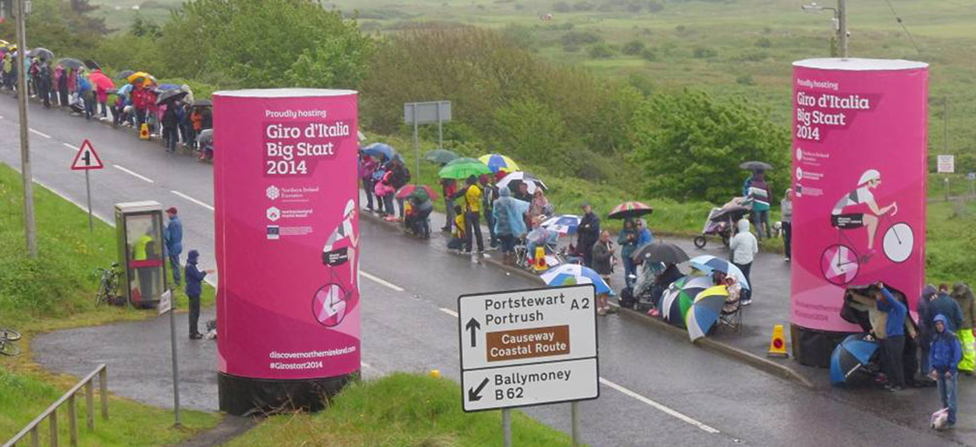 Mobile advertising towers at bike race